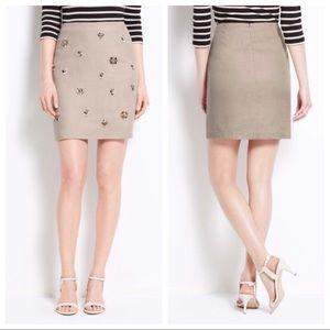 Ann Taylor Linen Jewel Embellished Skirt Sz 4 EUC.